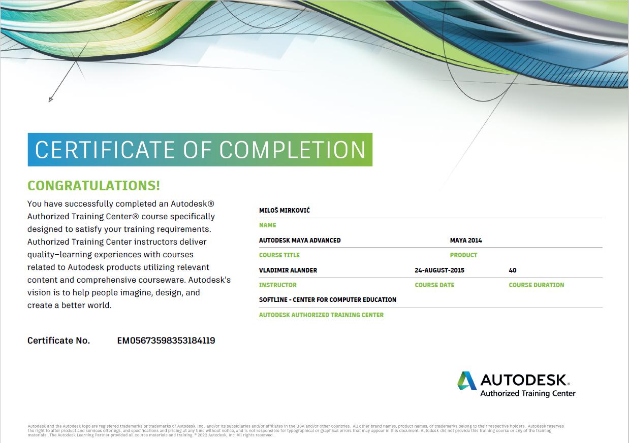 miloš mirković autodesk maya sertifikat